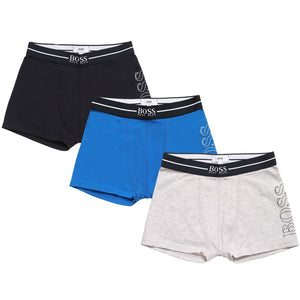 Hugo Boss Boys Set of Three Boxer Shorts [Navy/Blue/Grey] Boys Underwear & Socks Boss Hugo Boss [Petit_New_York]