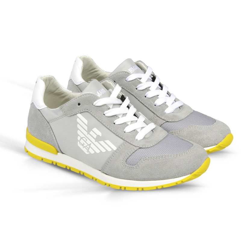 Armani Boys Grey and Yellow Sneakers Boys Shoes Armani Junior [Petit_New_York]