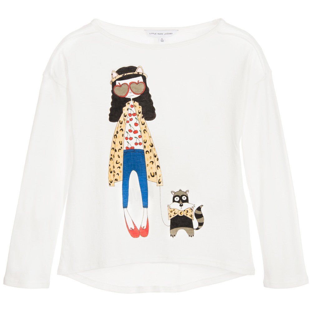 Little Marc Jacobs Girls White 'Miss Marc' Top Girls Tops Little Marc Jacobs [Petit_New_York]