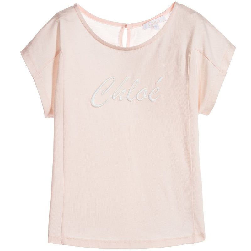 Chloe Girls Pink Logo T-shirt Girls Tops Chloé [Petit_New_York]