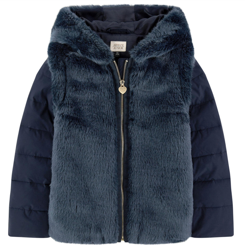 bad3b76ac3f Armani Girls Navy Faux-Fur Hooded Jacket Girls Jackets & Coats Armani  Junior [Petit_New_York