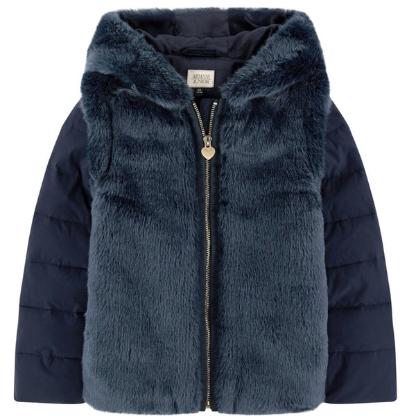 Armani Junior Girls Fancy Navy Blue Faux Fur Hooded Jacket