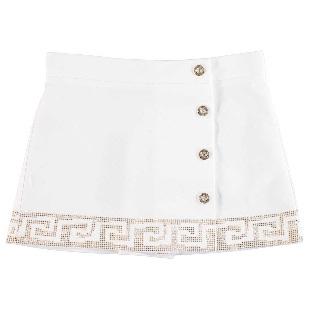 Versace Girls White Greca Skirt Girls Skirts Young Versace [Petit_New_York]
