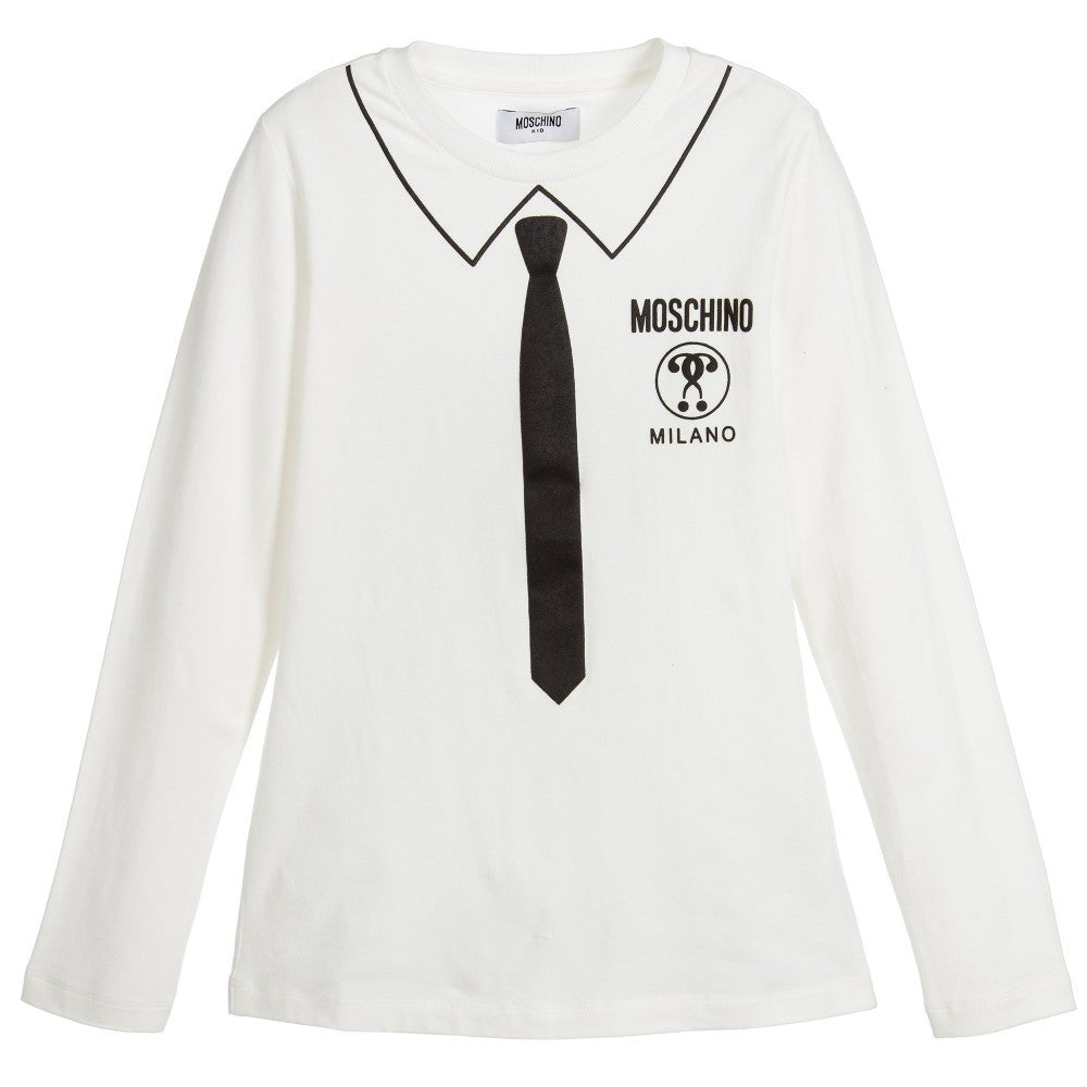 Moschino Boys Ivory Tie Print Top Boys Shirts Moschino [Petit_New_York]