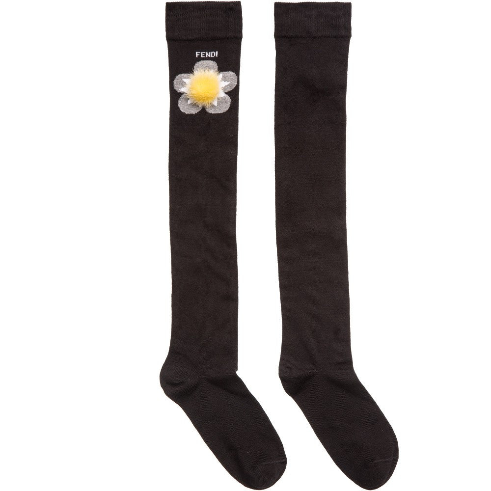 Fendi Girls Black Long Socks with Fur Girls Underwear, Socks & Tights Fendi [Petit_New_York]