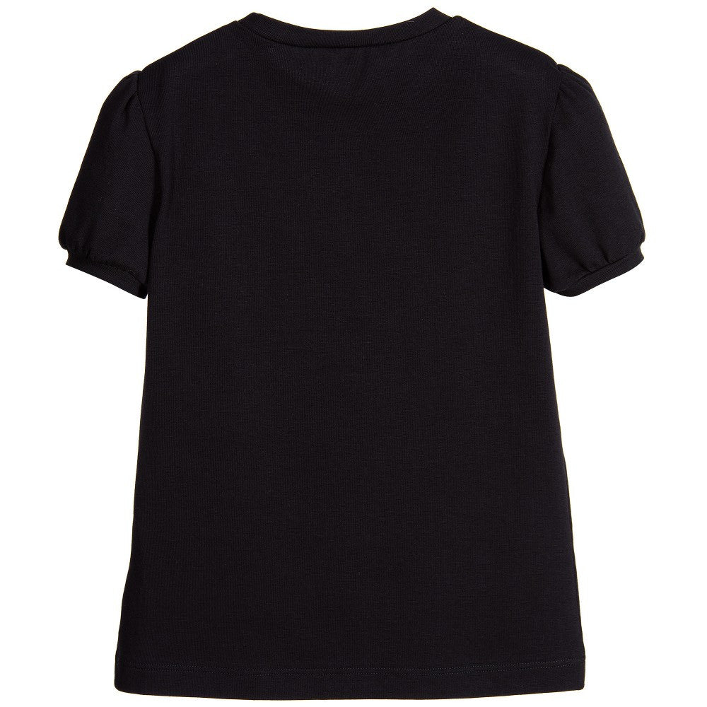 Versace Girls Black Medusa Mini-Me Logo T-shirt Girls Tops Young Versace [Petit_New_York]