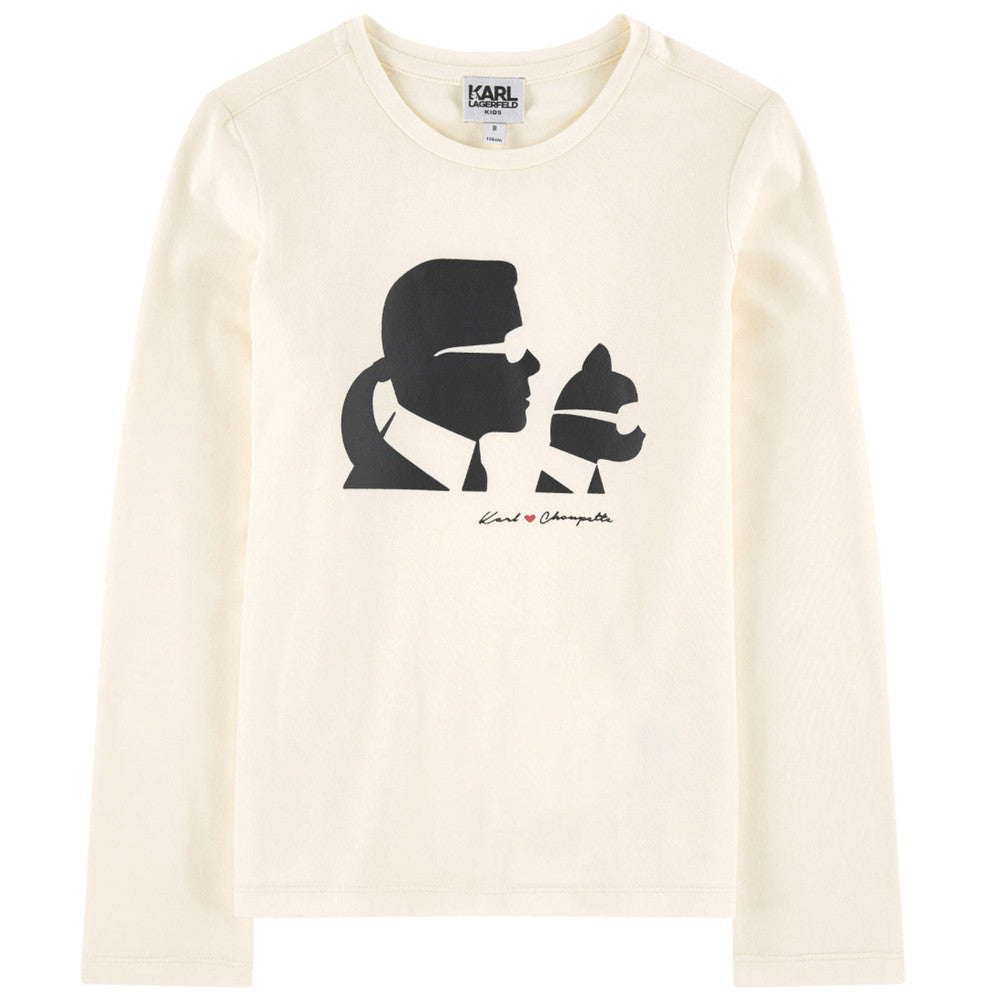 Karl Lagerfeld Girls Ivory Karl & Choupette T-shirt [Mini-Me] Girls Tops Karl Lagerfeld Kids [Petit_New_York]