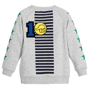Stella McCartney Boys 'Billy Badges' Grey Sweater Boys Sweaters & Sweatshirts Stella McCartney Kids [Petit_New_York]