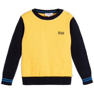 Hugo Boss Baby Boys Knit Yellow/Navy Sweater Baby Sweaters & Sweatshirts Boss Hugo Boss [Petit_New_York]