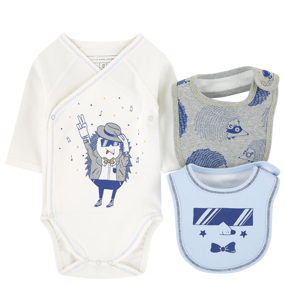 Little Marc Jacobs Baby Boys Romper & Bibs Gift Set Baby Rompers & Onesies Little Marc Jacobs [Petit_New_York]