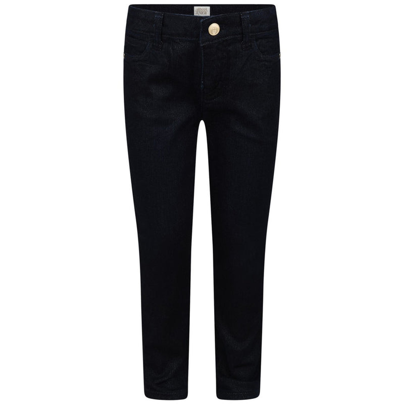 Armani Junior Girls Dark Navy Jeans with Gold Details Girls Pants Armani Junior [Petit_New_York]