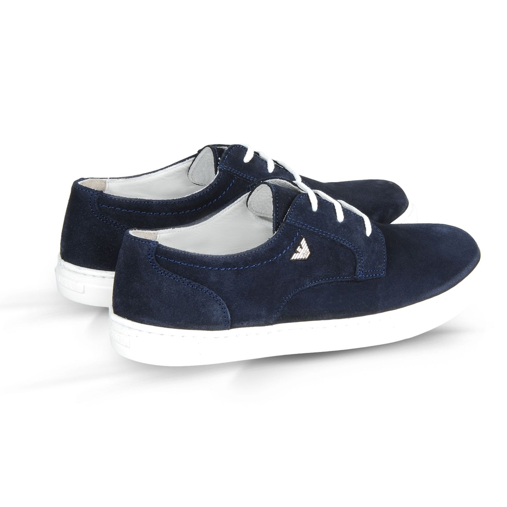 Armani Boys Navy Blue Suede Shoes Boys Shoes Armani Junior [Petit_New_York]