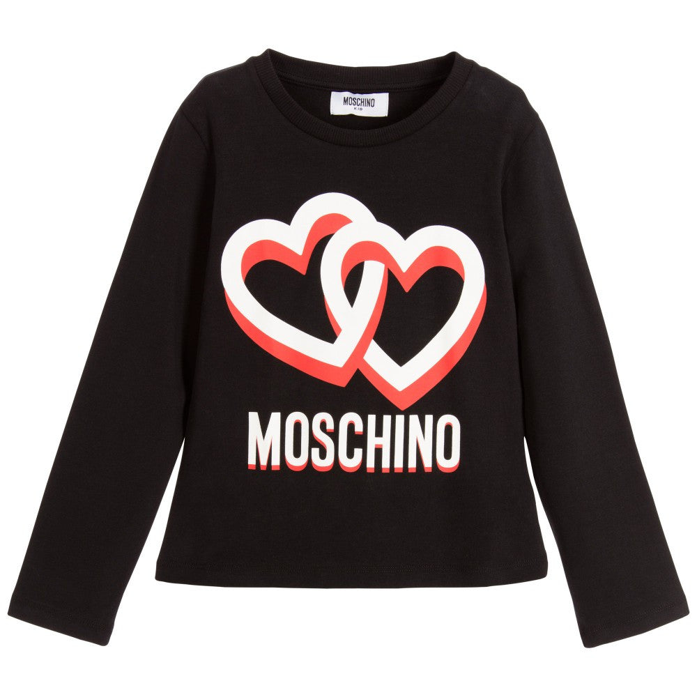 Moschino Girls Black Logo Hearts Tee Girls Tops Moschino [Petit_New_York]