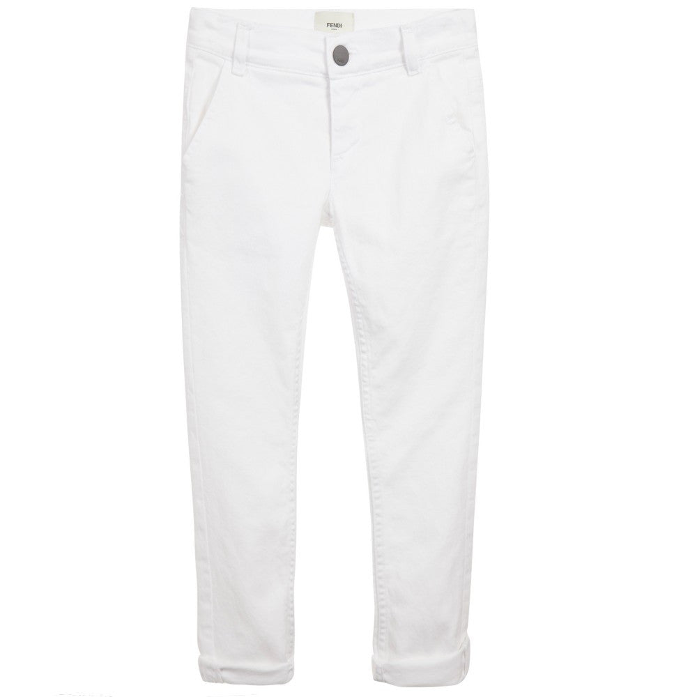 Fendi Boys Chic White Jeans Boys Pants Fendi [Petit_New_York]