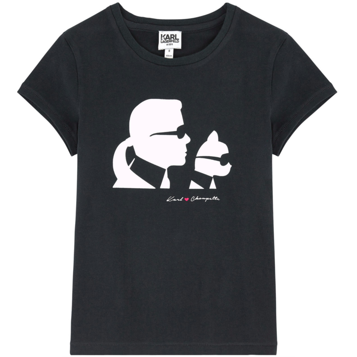 Karl Lagerfeld Girls Choupette Black Tee Girls Tops Karl Lagerfeld Kids [Petit_New_York]