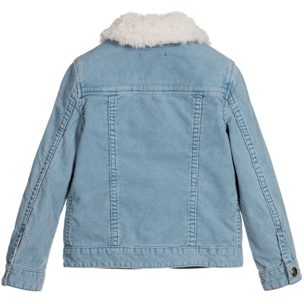 c5dafa1dd8e Chloe Girls Blue Corduroy Shearling Fur Jacket (Mini-Me) Girls Jackets &  Coats