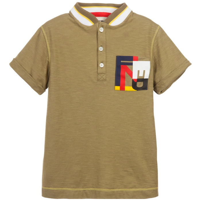Fendi Boys Olive T-shirt Boys T-shirts Fendi [Petit_New_York]