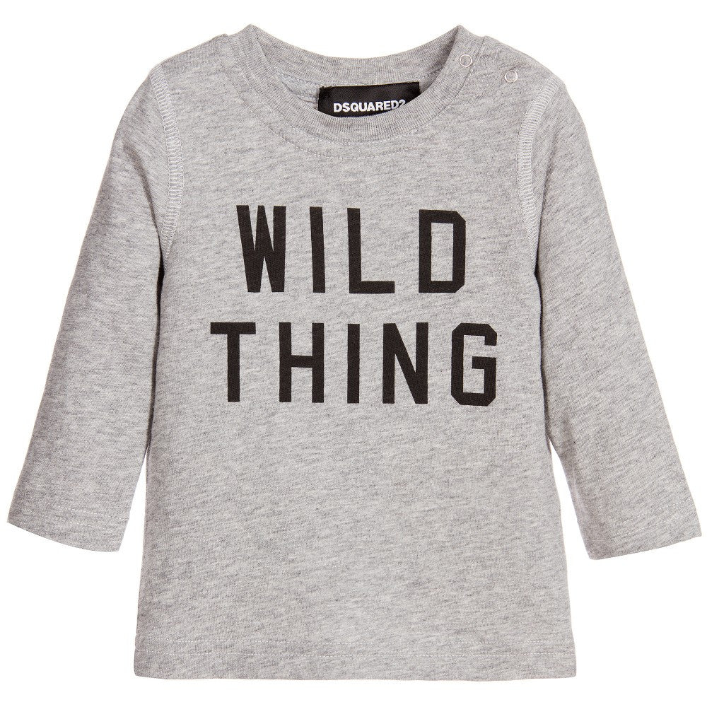 Dsquared2 Baby Grey 'Wild Thing' T-shirt Baby Tops Dsquared2 [Petit_New_York]