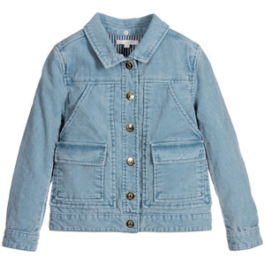 Chloe Girls Blue Corduroy Shearling Fur Jacket (Mini-Me) Girls Jackets & Coats Chloé [Petit_New_York]
