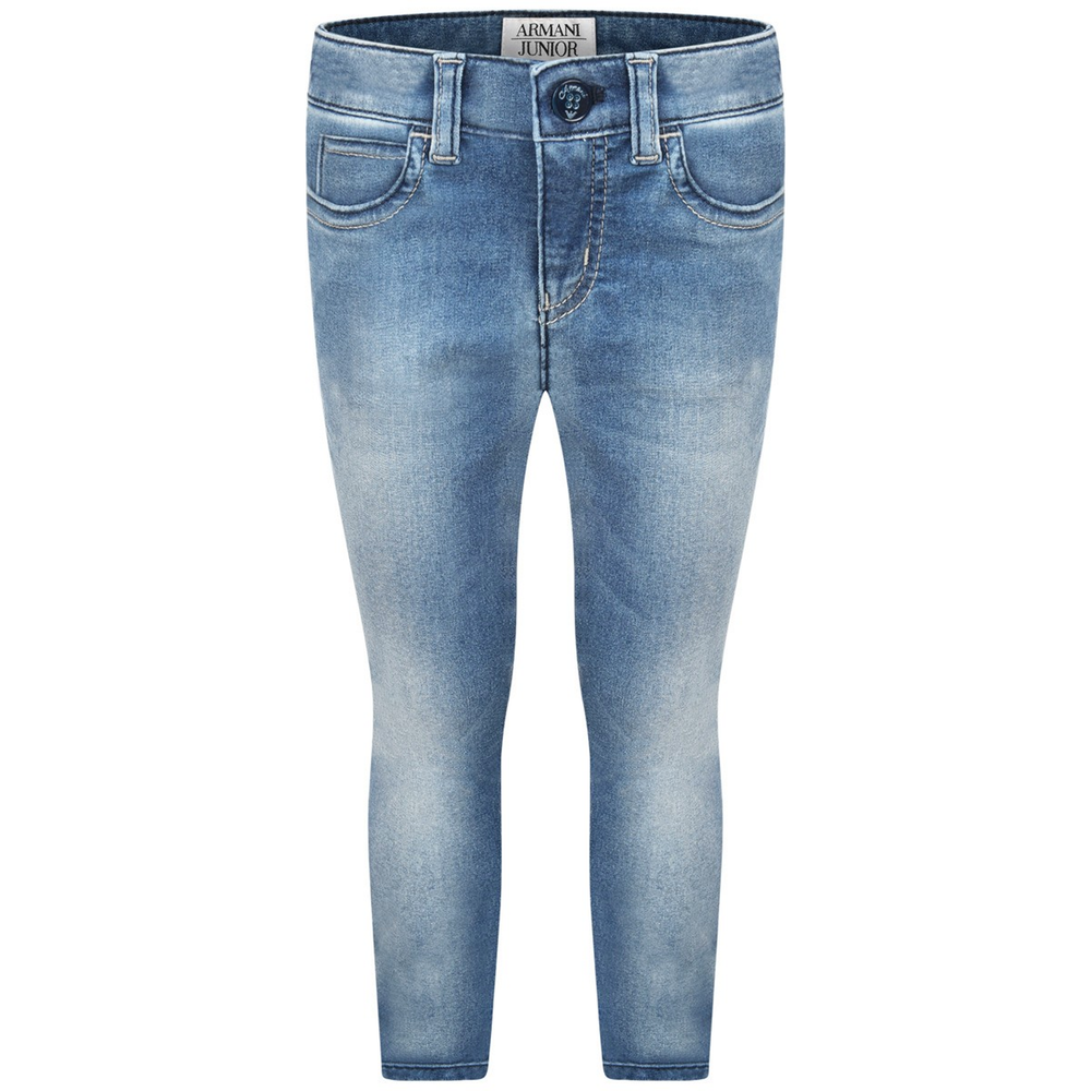 Armani Girls Faded Blue Jeans Girls Pants Armani Junior [Petit_New_York]
