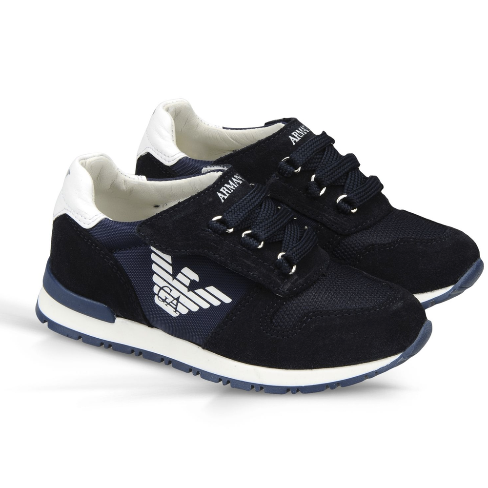abd2a28b642 Armani Boys Navy Blue Sneakers Boys Shoes Armani Junior  Petit New York