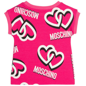 Moschino Baby Girls Pink Logo Hearts Dress Baby Dresses Moschino [Petit_New_York]