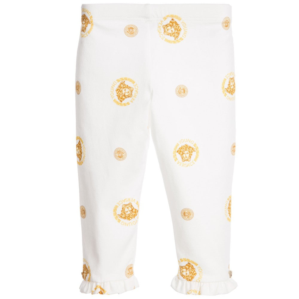 Versace Baby Girls Ivory & Gold Medusa Leggings Baby Bottoms Young Versace [Petit_New_York]