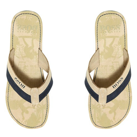 Armani Boys Blue & Black Eagle Flip-Flops
