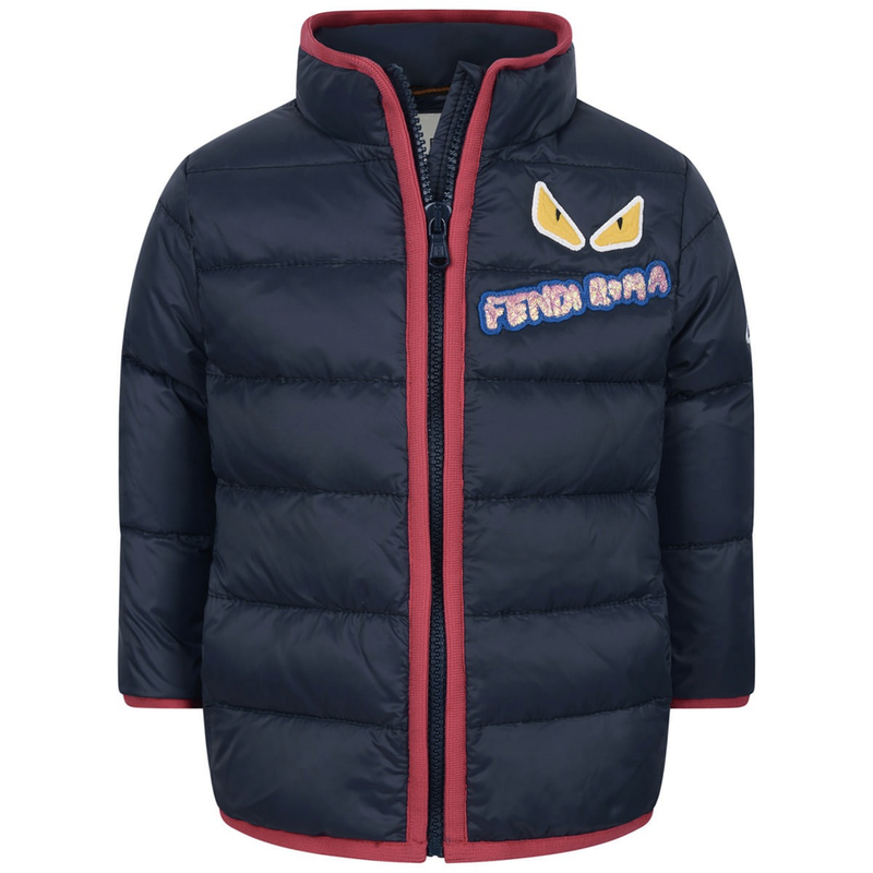 Fendi Baby Puffer Jacket in Navy/Red Baby Jackets & Coats Fendi [Petit_New_York]