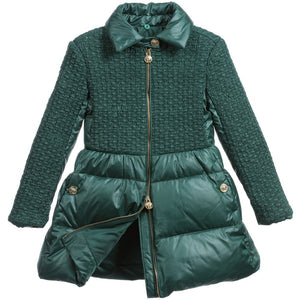 Versace Girls Luxury Green Coat with Fur Girls Jackets & Coats Young Versace [Petit_New_York]