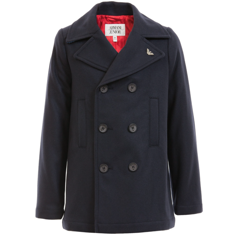 Armani Boys Navy Blue Peacoat Boys Jackets & Coats Armani Junior [Petit_New_York]