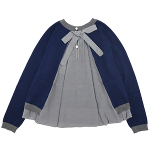 Fendi Girls Navy Fancy Sweater Girls Tops Fendi [Petit_New_York]