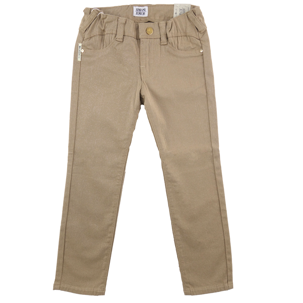 Armani Junior Girls Beige Jeggings Girls Leggings Armani Junior [Petit_New_York]