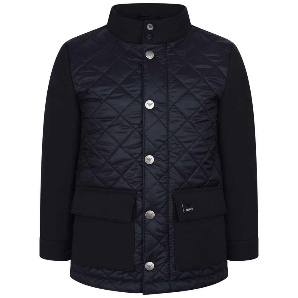Armani Boys Navy Blue Down Quilted Jacket