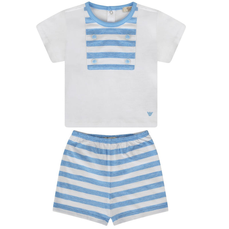 Armani Baby Boys Blue Striped Top & Shorts Set Baby Sets & Suits Armani Junior [Petit_New_York]