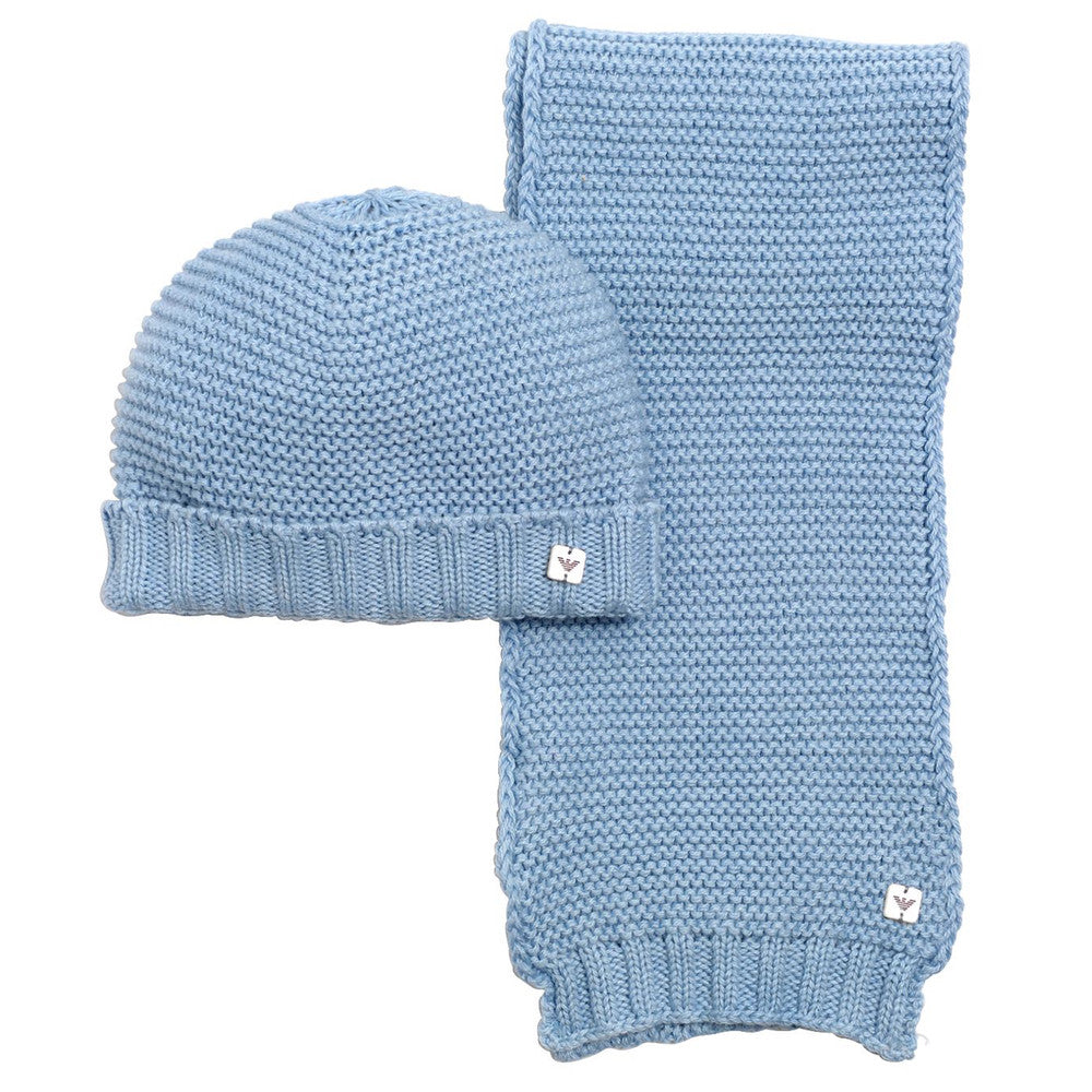 Armani Baby Blue Tricot Hat & Scarf Set Accessories Armani Junior [Petit_New_York]