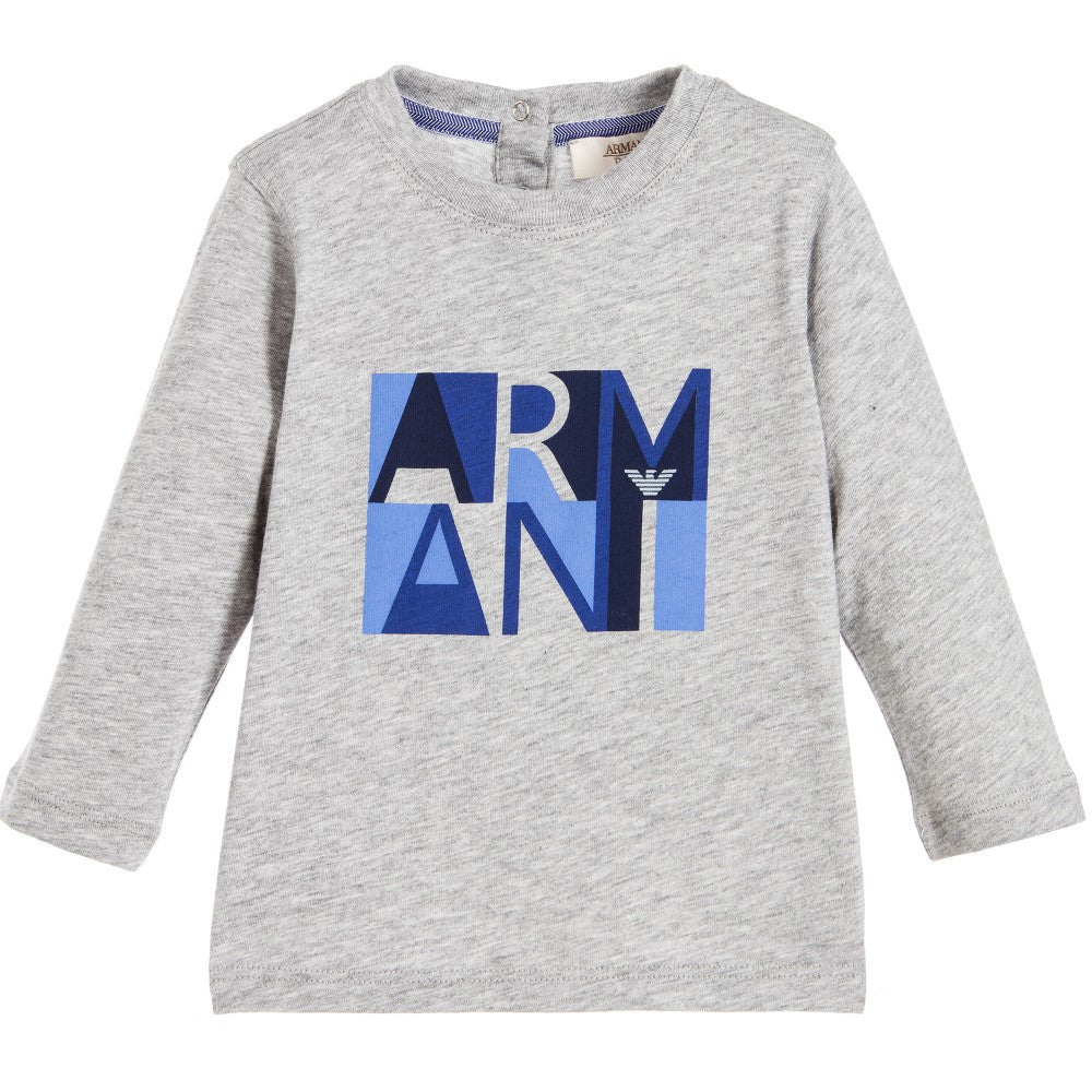 Armani Baby Boys Grey and Blue Logo Long-Sleeve T-shirt Baby T-shirts Armani Junior [Petit_New_York]
