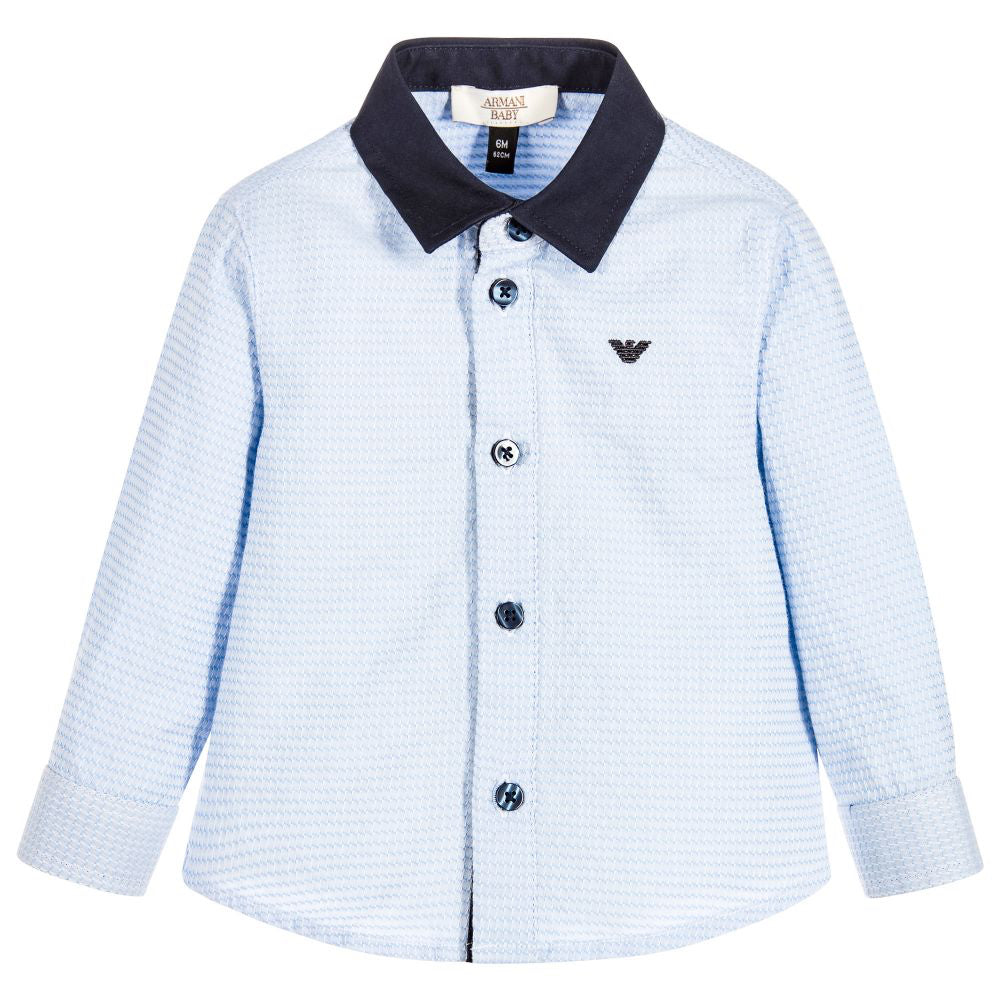 Armani Baby Boys Blue Contrast Collar Shirt Baby Tops Armani Junior [Petit_New_York]