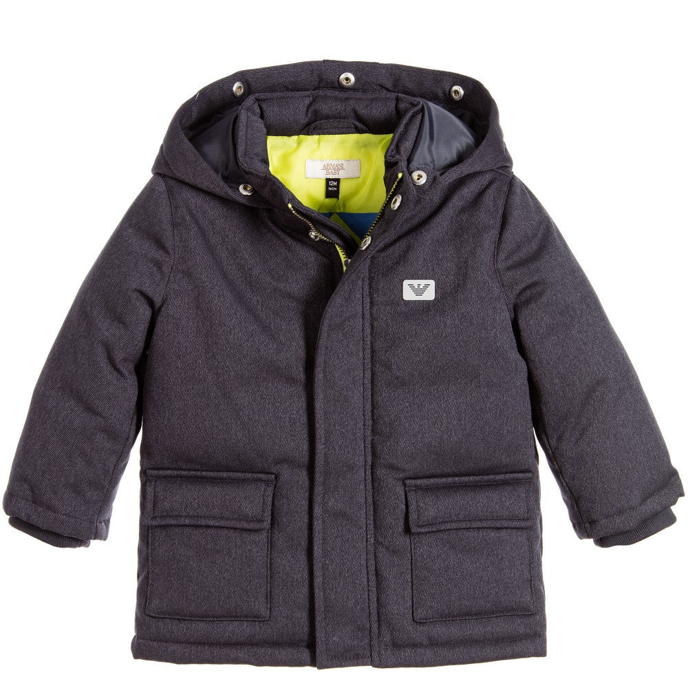 Armani Baby Boys Down Coat with Faux Fur Hood Baby Jackets & Coats Armani Junior [Petit_New_York]