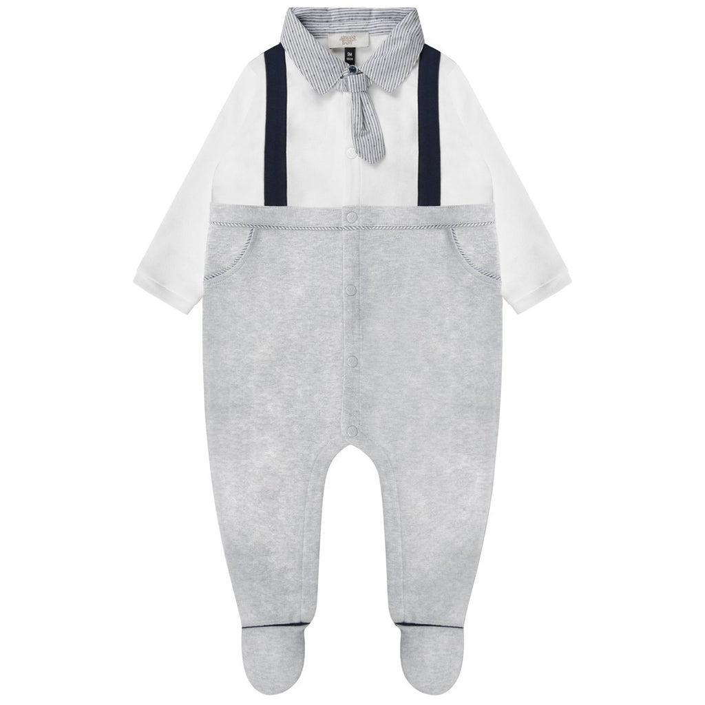 Armani Baby Boys Grey Fancy Onesie | New Collection