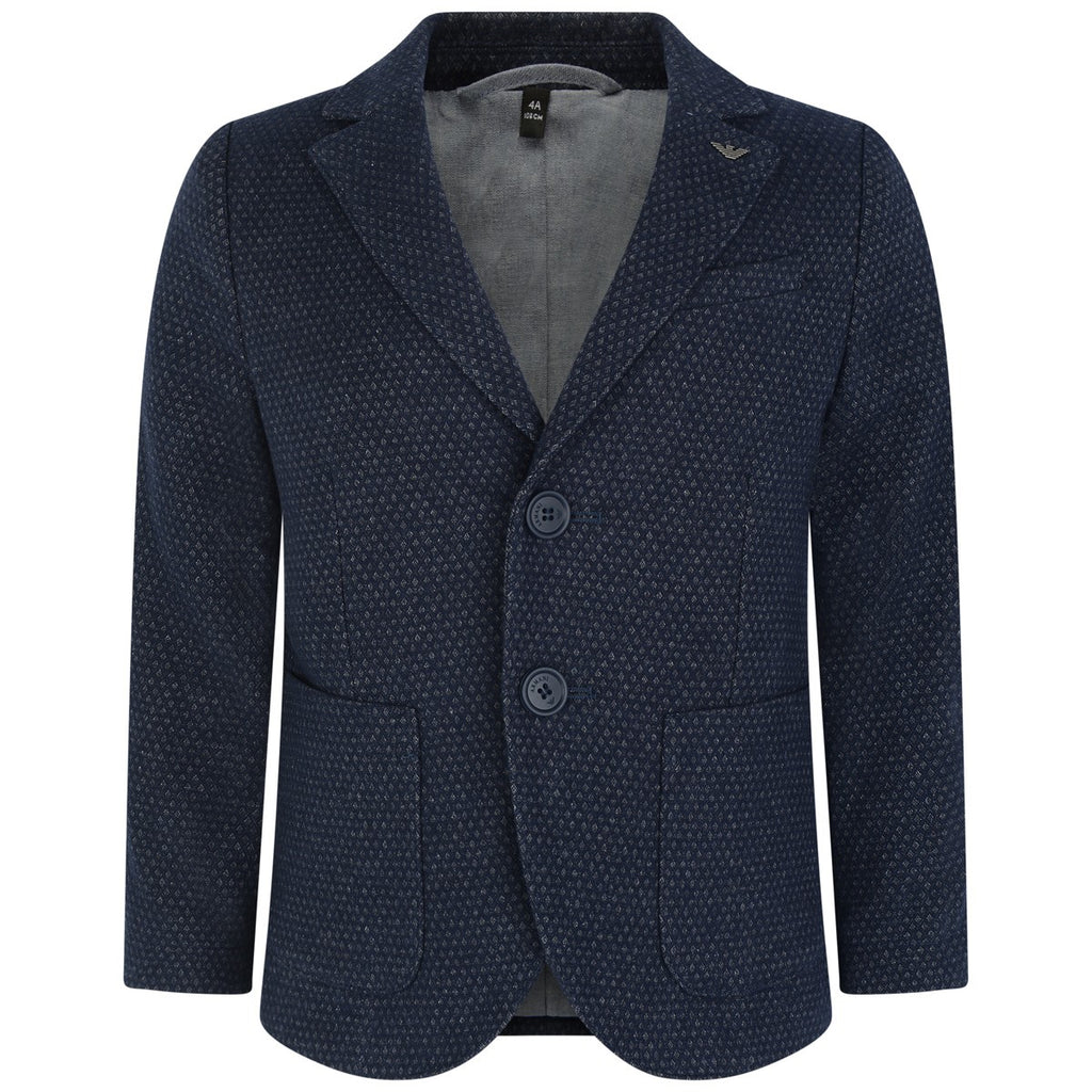 Armani Baby Boys Navy Blue Woven Blazer Boys Suits & Blazers Armani Junior [Petit_New_York]
