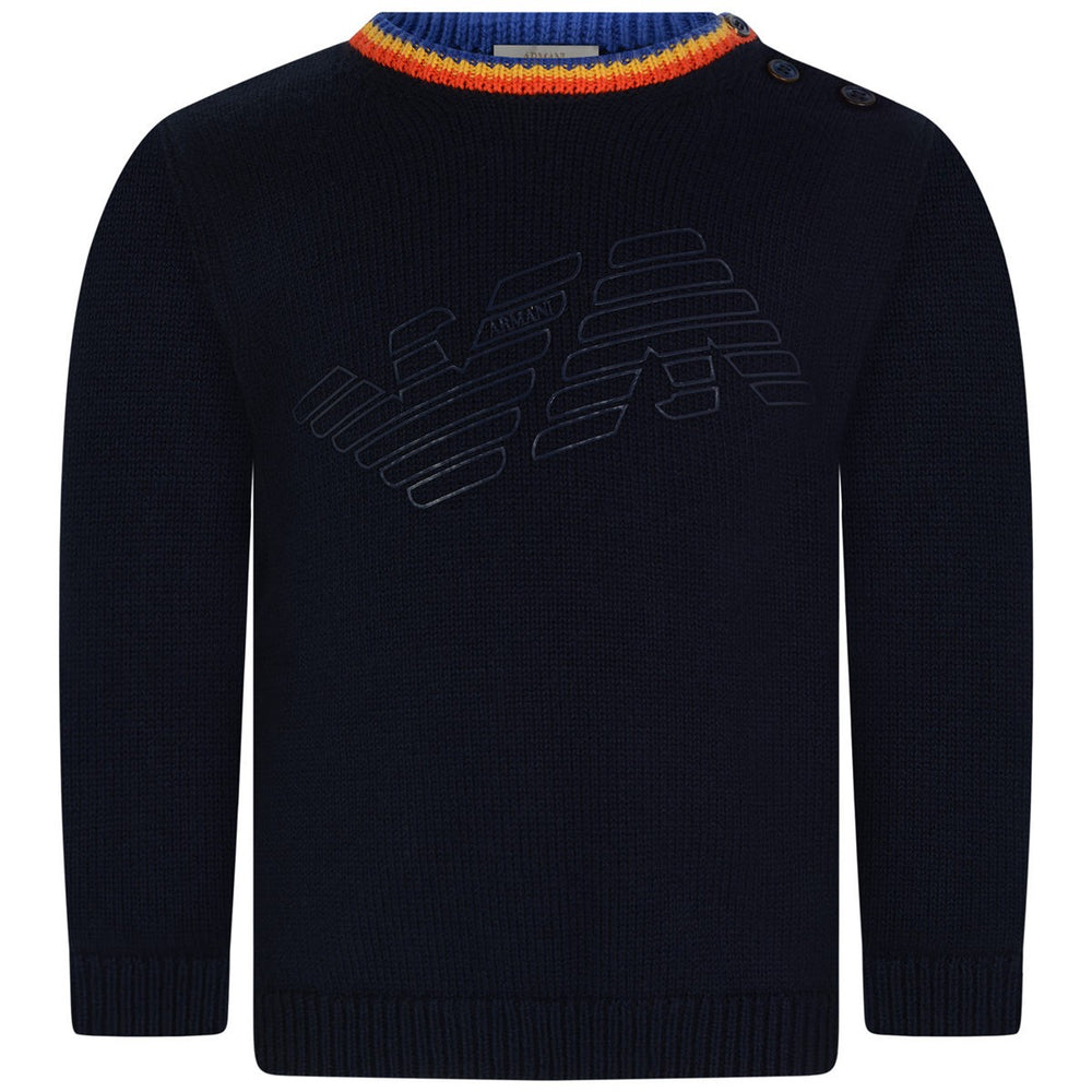 Armani Baby Boys Navy Logo Wool Sweater Baby Sweaters & Sweatshirts Armani Junior [Petit_New_York]