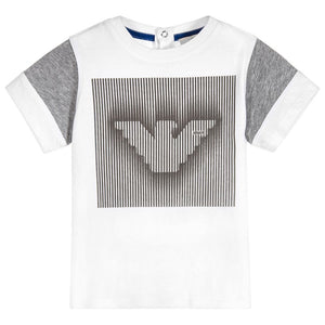Armani Baby Boys White and Grey Logo T-shirt Baby T-shirts Armani Junior [Petit_New_York]