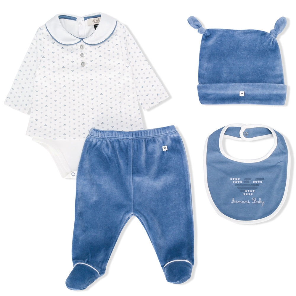 Baby Luxury Velvet Pajama Hat and Bib (Gift Set)