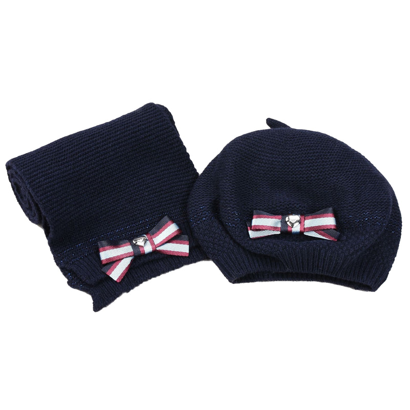 Baby Girls Navy Blue Matching Scarf and Hat (Gift Set)