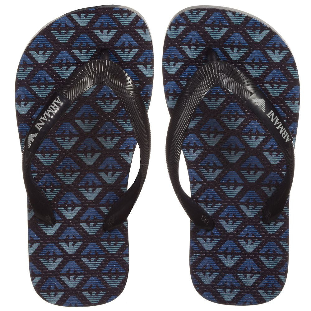Armani Boys Blue & Black Eagle Flip-Flops Boys Shoes Armani Junior [Petit_New_York]