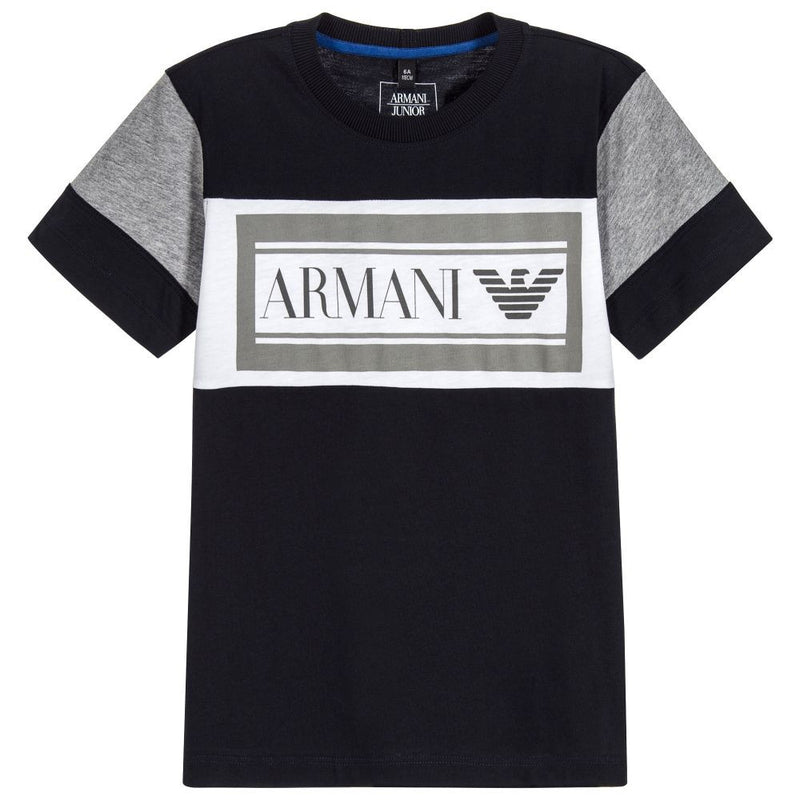 Armani Boys Navy Blue Logo T-shirt Boys T-shirts Armani Junior [Petit_New_York]