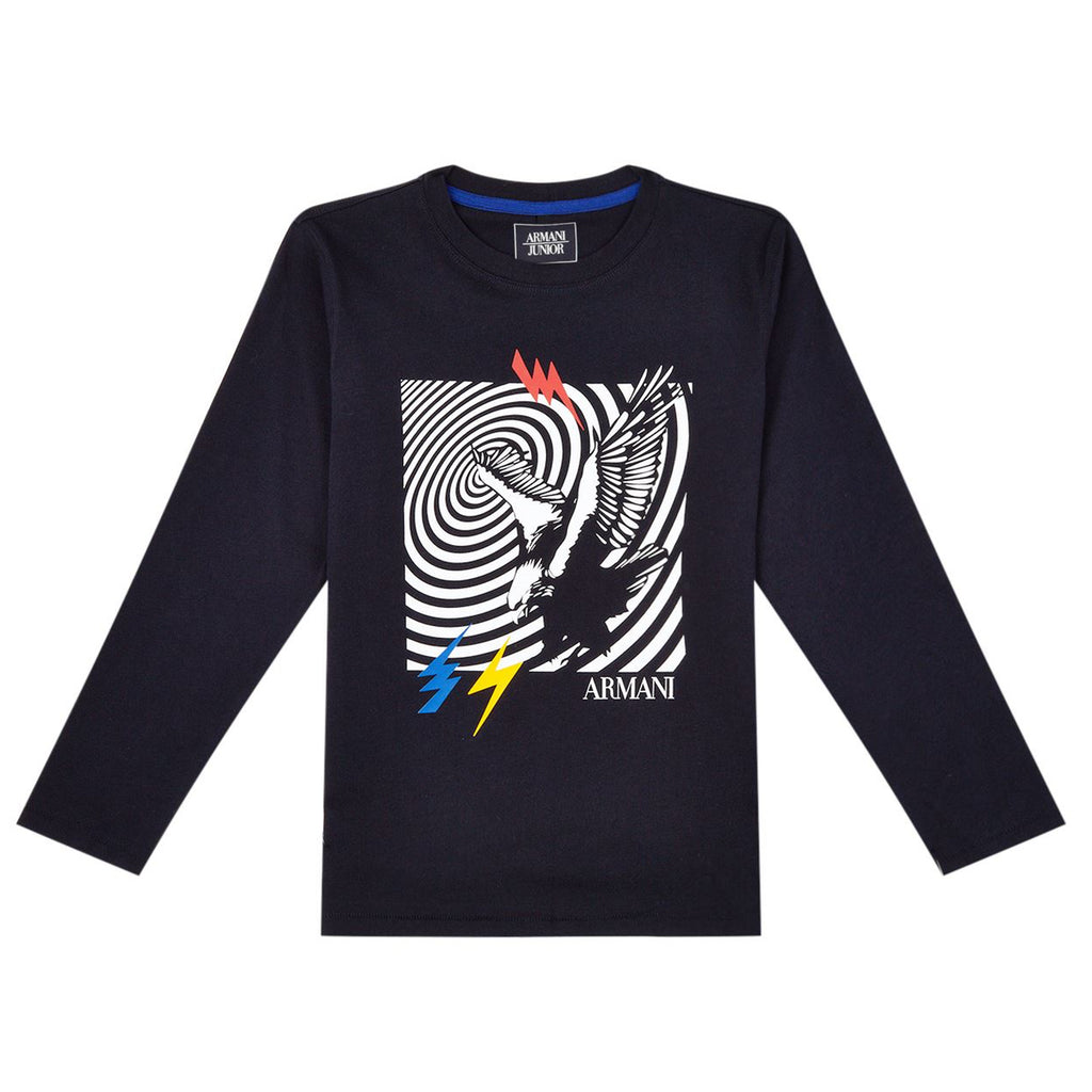 Armani Junior Boys Navy Blue T-shirt with Eagle Logo Boys T-shirts Armani Junior [Petit_New_York]