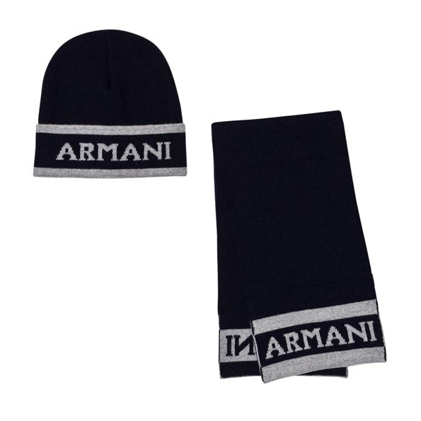 Armani Baby Boys Navy Logo Hat and Scarf Gift Set Baby Hats, Scarves & Gloves Armani Junior [Petit_New_York]