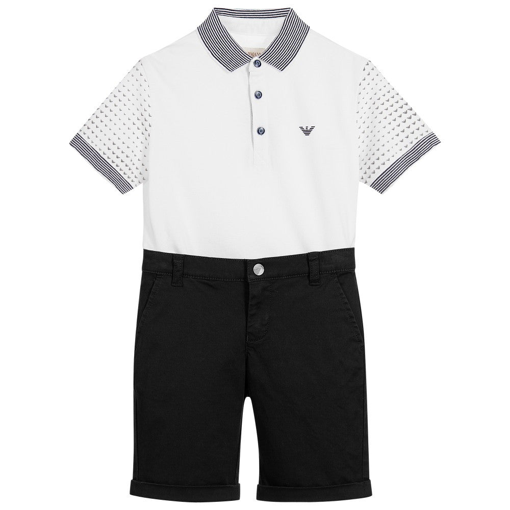 Armani Boys PoloShirt & Shorts Set Boys Sets Armani Junior [Petit_New_York]